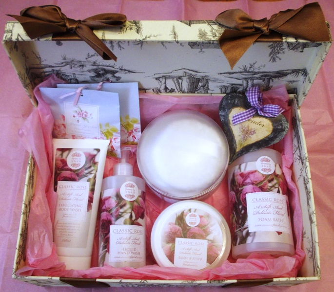 Pamper products packed in a hamper