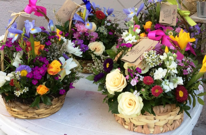 flowers in rustic basket