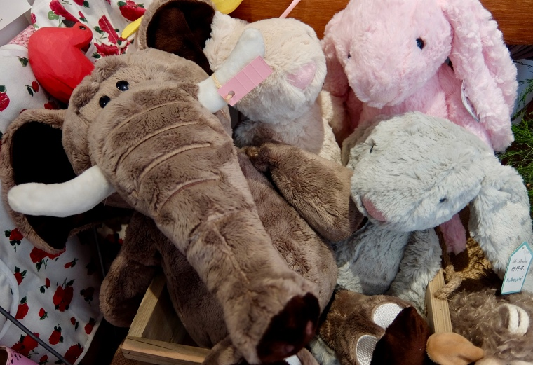 Ever-changing range of soft toy animals and teddies.