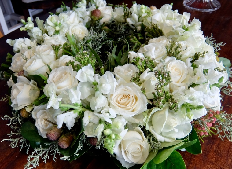 white roses and lisianthus