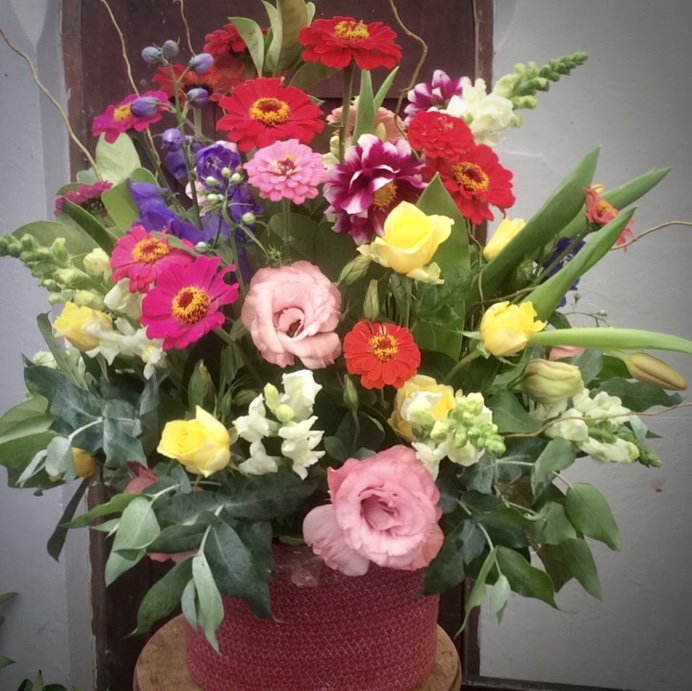 colourful flowers in a basket