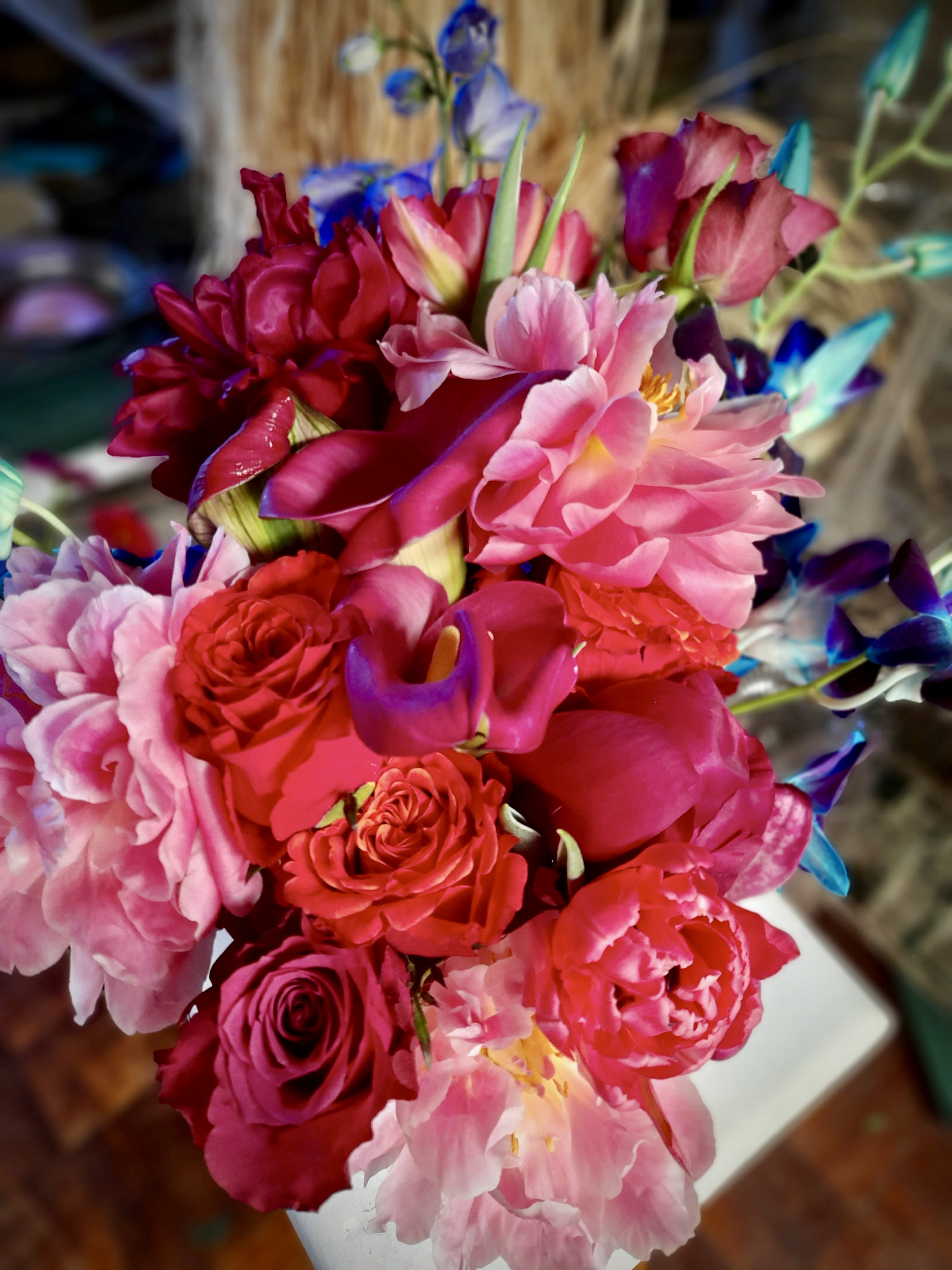 Colourful exotic bridal bouquet